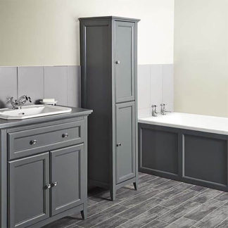 An Image of Bathstore Savoy 400mm Tall Floorstanding Cabinet - Charcoal Grey