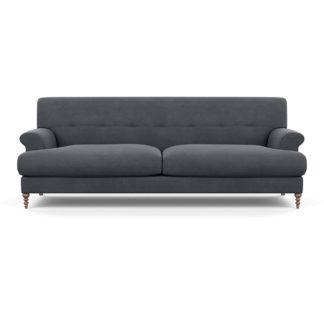 An Image of SCP Oscar 3 Seater Formal Sofa Linen Dark Grey Walnut Feet