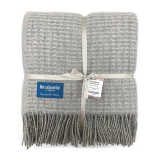 An Image of House Beautiful Wool Waffle Throw - 150x183cm - Grey