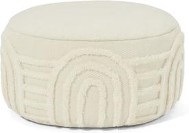 An Image of Raina Pouffe, Off White Tufted New Zealand Wool