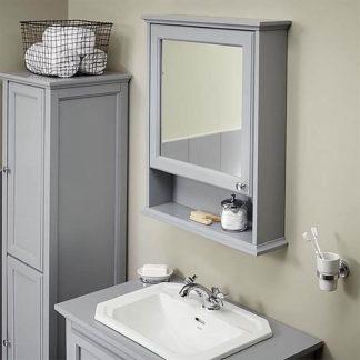 An Image of Bathstore Savoy Mirror Wall Cabinet - Gun Metal Grey