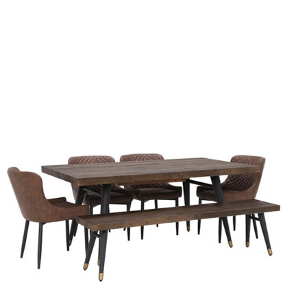 An Image of Modi Reclaimed Wood Extending Dining Table Bench and 4 Rivington Chai