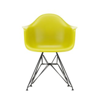 An Image of Vitra Eames DAR Armchair New Height Mustard Basic Dark Powder Base