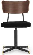 An Image of Amalyn Office Chair, Deep Black Velvet & Walnut