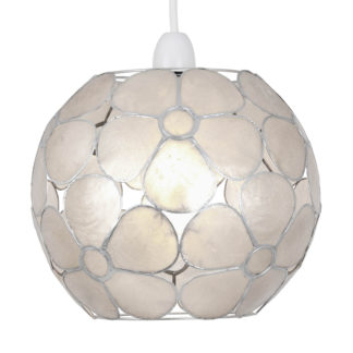 An Image of Capiz Floral Ball Easy Fit Light Shade - Natural