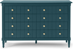 An Image of Bourbon Vintage Wide Chest of Drawers, Petrol Blue