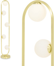 An Image of Remi Floor Lamp, Brushed Brass & Opal Glass