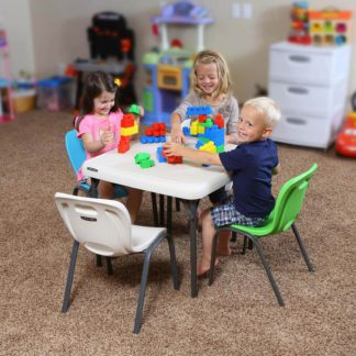 An Image of Lifetime Children's Stacking Chair - Lime Green (Pack of 4)