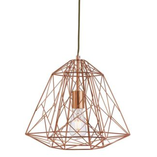 An Image of Geometric Copper Cage Pendant Light