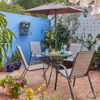 An Image of Andorra 4 Seater Garden Dining Set with Parasol
