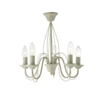 An Image of 5 Light Semi-flush Ceiling Light - Brushed Cream & Gold