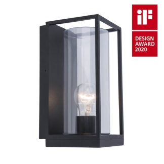 An Image of Lutec Flair Flush Outdoor Wall Light In Black