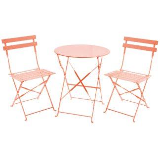 An Image of Folding 2 Seater Orange Metal Bistro Set Orange and Pink