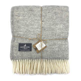 An Image of Country Living Wool Herringbone Throw - 150x183cm - Grey