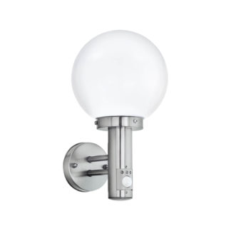 An Image of Eglo Nisia Outdoor Wall Light With PIR - Stainless Steel