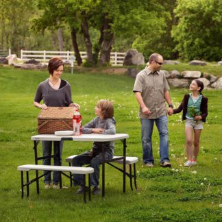 An Image of Lifetime Folding Picnic Table with Benches