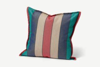 An Image of Artiga Outdoor Cushion, 40 x 40cm, Grey & Blue Stripe