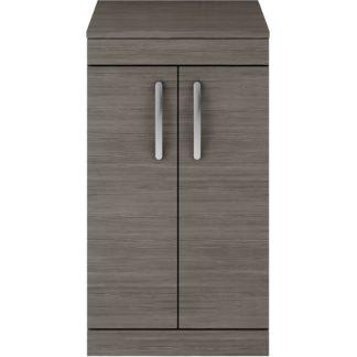 An Image of Balterley Rio 500mm Freestanding 2 Door Vanity With Worktop - Grey Avola
