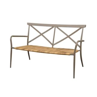 An Image of Milos Taupe two seater bench