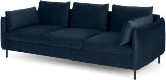 An Image of Vento 3 Seater Sofa, Sapphire Blue Velvet