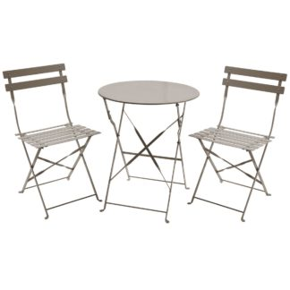 An Image of Folding 2 Seater Taupe Bistro Set Brown