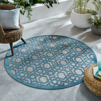 An Image of Oro Blue Circle Geometric Indoor Outdoor Rug Blue and Brown
