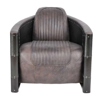 An Image of Timothy Oulton Aviator Tomcat Armchair, Destroyed Black and Black Spitfire