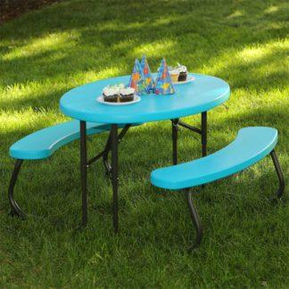 An Image of Lifetime Children's Oval Picnic Table - Glacier Blue