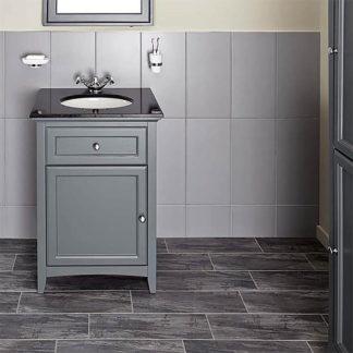 An Image of Bathstore Savoy 600mm Granite Top Floorstanding Vanity Unit - Charcoal Grey
