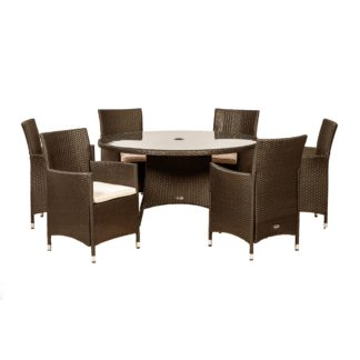 An Image of Cannes 6 Seater Mocha Round Dining Set Brown