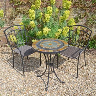 An Image of Villena 2 Seater Black Bistro Set with Malaga Chairs Brown, Green and Grey