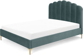 An Image of Delia Super King Size Bed, Marine Green Velvet