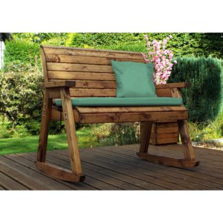 An Image of Charles Taylor 2 Seater Wooden Rocking Bench with Green Seat Pads Brown