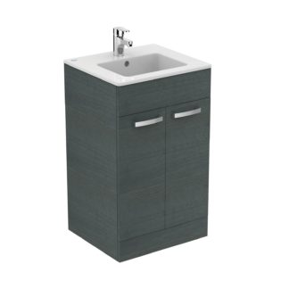 An Image of Ideal Standard Tempo 50cm Freestanding Vanity Unit Pack - Lava Grey