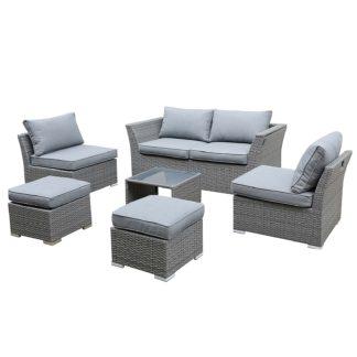 An Image of Bambrick 6 Seater Grey Garden Sofa Set