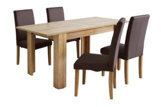 An Image of Habitat Miami Extending Table & 4 Chocolate Chairs
