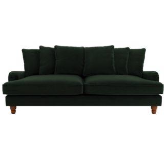 An Image of Beatrice Velvet Scatter Back 4 Seater Sofa Bottle (Green)