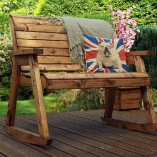 An Image of Charles Taylor 2 Seater Wooden Rocking Bench Wood (Brown)