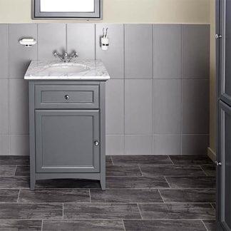 An Image of Bathstore Savoy 600mm Marble Top Floor standing Vanity Unit - Charcoal Grey