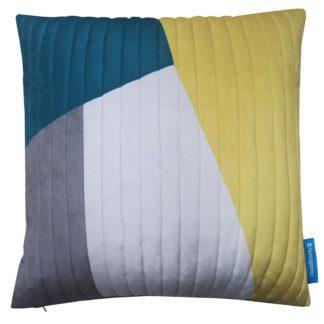 An Image of House Beautiful Velvet Quilt Cushion - 50x50cm - Ochre & Teal
