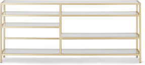 An Image of Connelly TV Shelving Unit, Brass & Smoked Glass