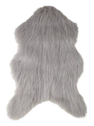An Image of Habitat Faux Sheepskin Rug - 60x90cm - Dove Grey