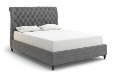 An Image of MiBed Cheshire Velvet Double Bed Frame - Blue