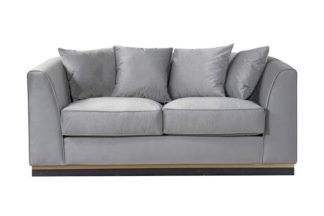 An Image of Pino Two Seat Sofa - Dove Grey - Brass Base