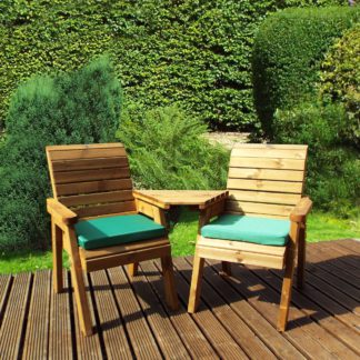 An Image of Charles Taylor 2 Seater Angled Companion Set with Green Seat Pads Dark Green