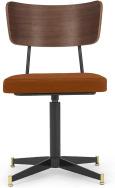 An Image of Amalyn Office Chair, Rust Velvet & Walnut