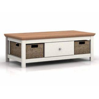 An Image of Cotswold Oak Effect Cream Coffee Table Cream