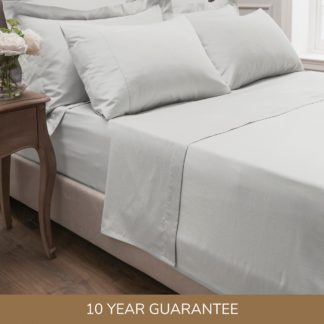 An Image of Dorma 300 Thread Count 100% Cotton Sateen Plain Flat Sheet White