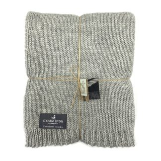 An Image of Country Living Wool Mix Knitted Throw - 130x180cm - Grey