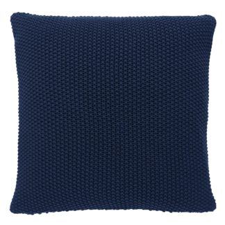 An Image of Habitat Paloma 45 x 45cm Knitted Cotton Cushion - Ink Blue